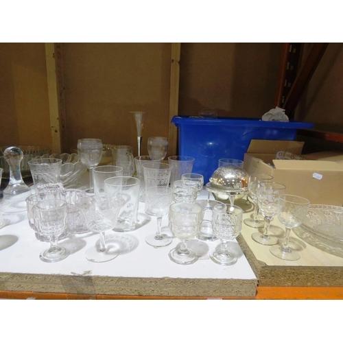 6 - A SHELF LOT - INCLUDING GLASSWARE AND CERAMICS...
