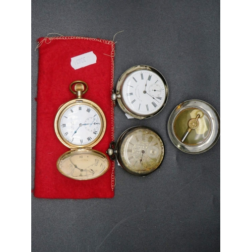 299 - THREE POCKET WATCHES - GOLD PLATED, SILVER PLATED AND ONE OTHER...