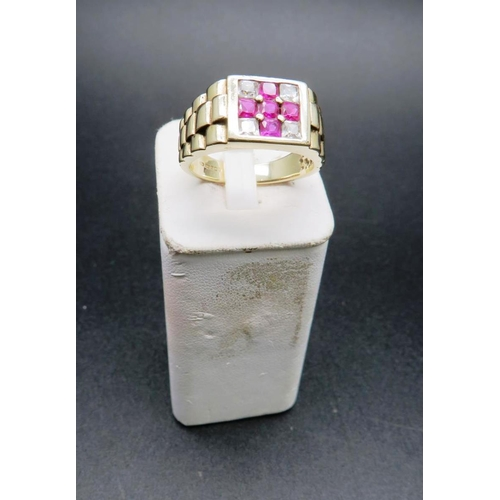 351A - 9CT GOLD ROLEX RING - SET WITH PURPLE AND WHITE STONES - APPROXIMATE SIZE 24/V - WEIGHT 9 GRAMS...