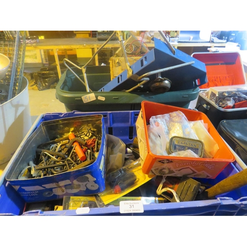 31 - TWO BOXES OF - MIXED TOOLS AND FIXINGS...