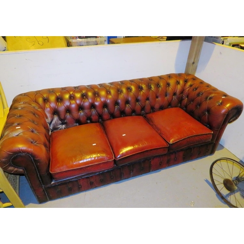 135 - OXBLOOD CHESTERFIELD SOFA...
