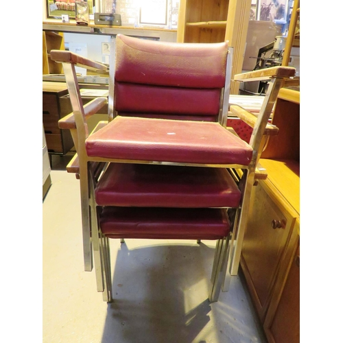134 - FIVE STACKING CHAIRS...