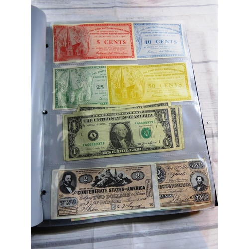 526 - ALBUM CONTAINING - ALL WORLD BANK NOTES - APPROXIMATELY 120 IN TOTAL INCLUDING - GB AND GERMAN EXAMP...