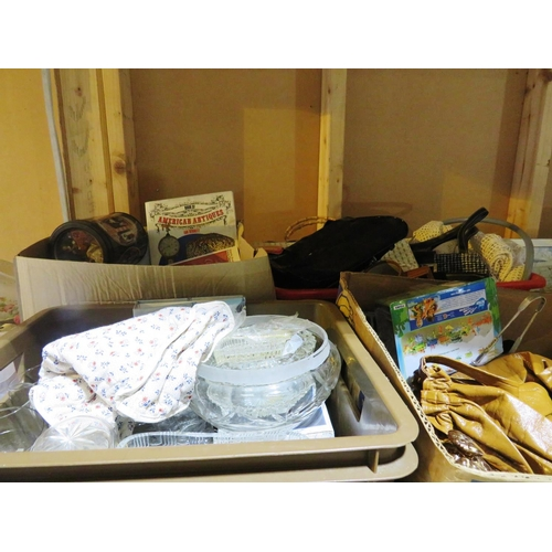 12 - SHELF LOT OF MIXED ITEMS - INCLUDING GLASSWARE...