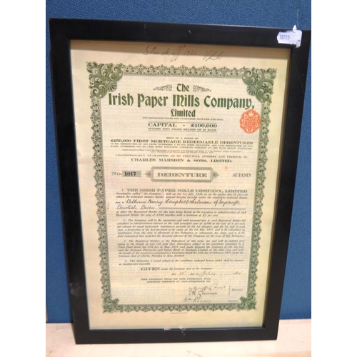 47 - FRAMED - IRISH PAPER MILLS DEBENTURE...