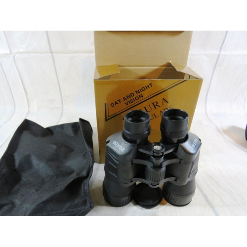 229 - 20 X 50 DAY AND NIGHT VISION BINOCULARS - AS NEW WITH CASE...