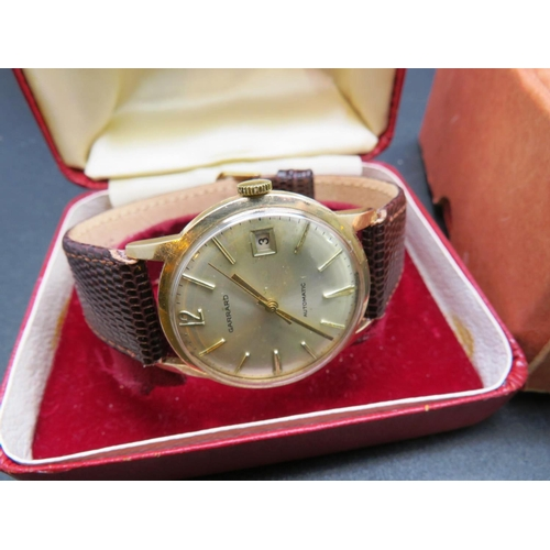 355A - 9CT GOLD CASED - GARRARD AND CO. - 21 JEWEL AUTOMATIC WRISTWATCH - WITH ORIGINAL PRESENTATION BOXES ...