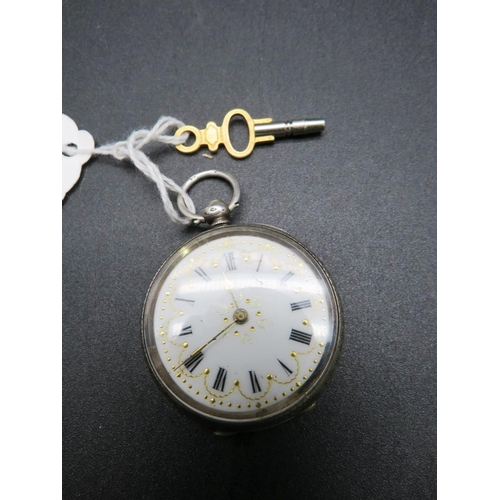 259 - 935 SILVER CASED - POCKET WATCH WITH KEY - IN WORKING ORDER...