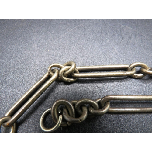 262 - STERLING SILVER - ALBERT WATCH CHAIN - APPROXIMATE WEIGHT 50 GRAMS - MISSING CLASP...