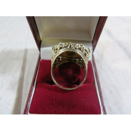404A - ANTIQUE GOLD - FULL SOVEREIGN RING - COIN DATED 1912 - APPROXIMATE COMBINED WEIGHT 15.5g...