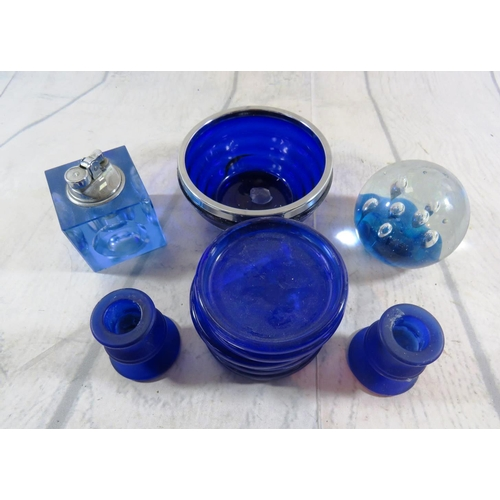 471 - SELECTION OF BLUE GLASS ITEMS - INCLUDING PAPERWEIGHT AND TABLE LIGHTER...