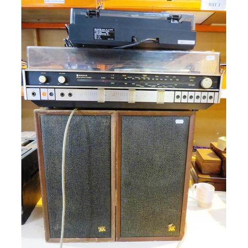 521 - SANYO MUSIC SYSTEM - PAIR OF WHARFDALE SPEAKERS AND AIWA TURNTABLE - UNTESTED...