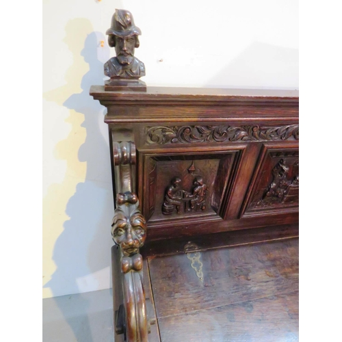 30 - ANTIQUE VICTORIAN CARVED OAK HALL SEAT/SETTLE MONKS BENCH WITH LIFTING SEAT...