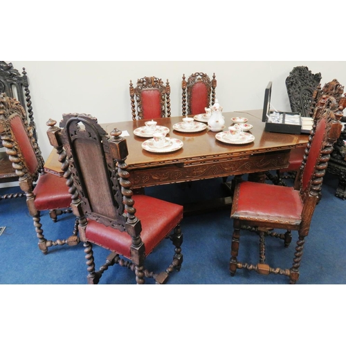 80 - EDWARDIAN DINING TABLE AND SIX CHAIRS...