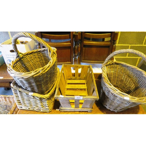 19 - THREE VINTAGE WICKER BASKETS AND A CRATE...