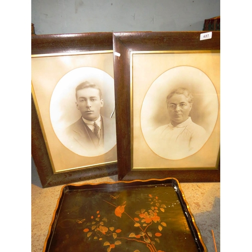 37 - TWO ANTIQUE FRAMED PORTRAITS AND A PAINTED TRAY...