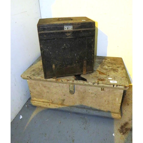 61 - TWO WOODEN STORAGE TOOL BOXES...