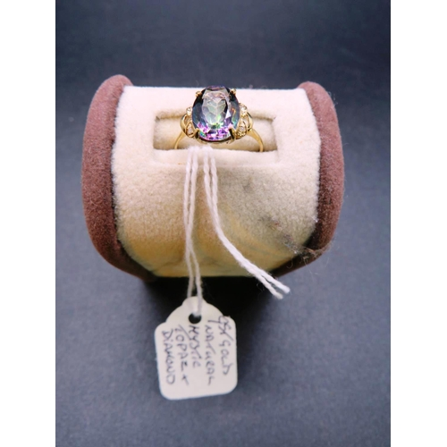 310 - 9CT NATURAL MYSTIC TOPAZ AND DIAMOND RING SIZE N...