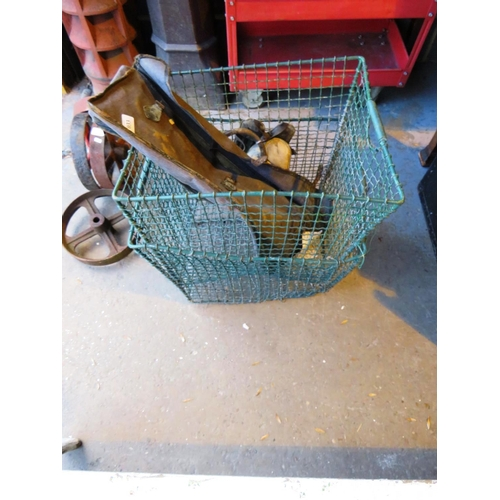 33 - WIRE STORAGE BASKETS AND VINTAGE CRICKET ITEMS...