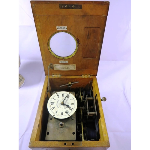 465 - ANTIQUE CLOCKING IN CLOCK GLEDHILL- BROOKE TIME RECORDERS HUDDERSFIELD ENGLAND...