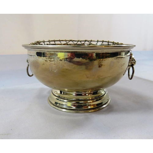 316 - ANTIQUE SOLID SILVER ROSE BOWL 270G - WITH LION HEAD HANDLES - BROADWAY & CO BIRMINGHAM...