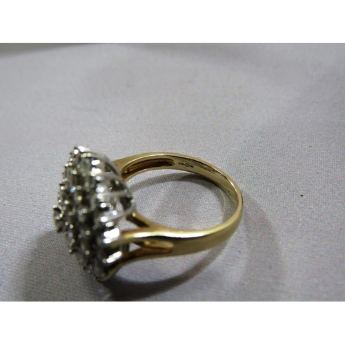 380 - 9CT GOLD AND DIAMOND CLUSTER RING...