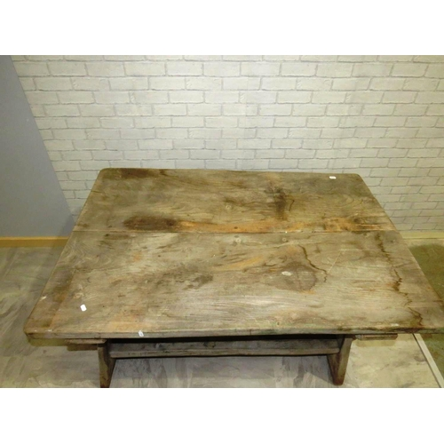 33 - WEATHERED STRIPPED COUNTRY MADE OAK TRESTTED TABLE EXCEPTIONAL QUALITY...
