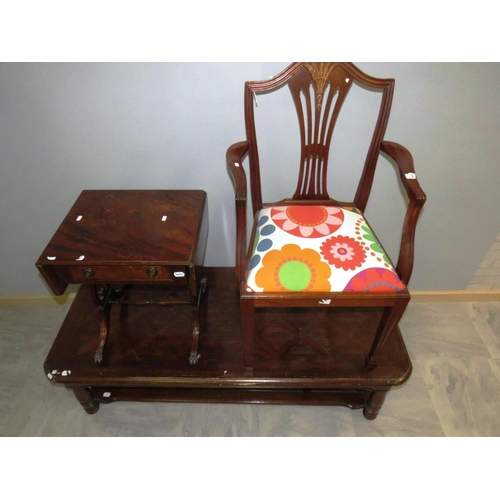 37 - LARGE COFFEE TABLE, SMALL DROP LEAF TABLE, ORNATE CORNER CHAIR...