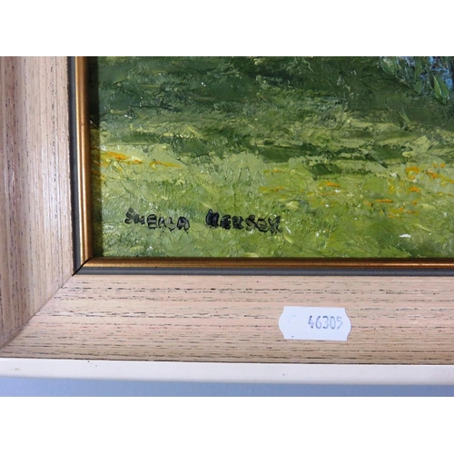 56 - FRAMED OIL ON BOARD SIGNED BY SHEILA HERSEY OF BURNSALL IN THE YORKSHIRE DALES...