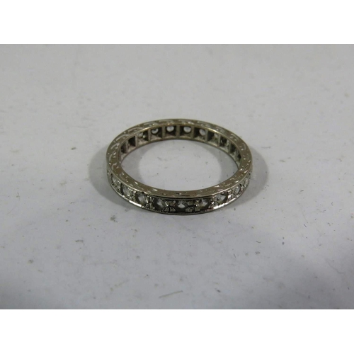 287 - 18CT WHITE GOLD AND WHITE SAPPHIRE FULL ETERNITY RING...