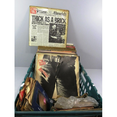 215 - COLLECTION OF VINYL LP'S AND SINGLE RECORDS INCLUDES RARE ROLLING STONES STICKY FINGERS...