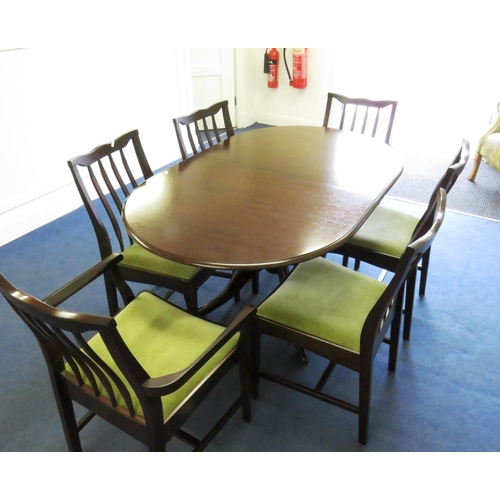 3 - TABLE AND SIX CHAIRS INCLUDING TWO CARVERS...