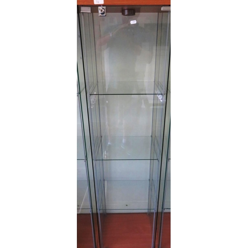 6 - GLASS CABINET WITH KEY...