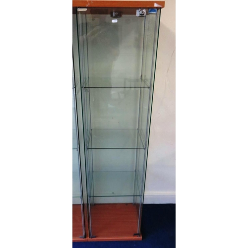 7 - GLASS CABINET WITH KEY...