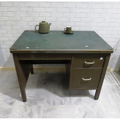 16 - VINTAGE INDUSTRIAL METAL TWO DRUM CLERKS DESK WITH LEATHER TOP...