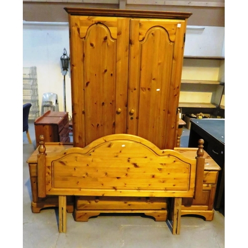 18 - PINE WARDROBE, TWO BEDSIDE CABINETS AND DOUBLE HEADBOARD...