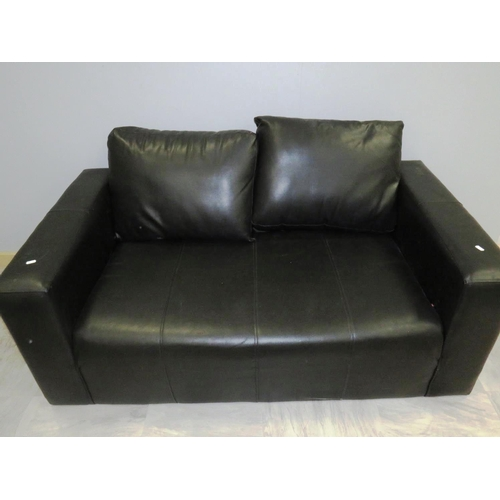 26 - TWO SEATER BLACK LEATHER SOFA...