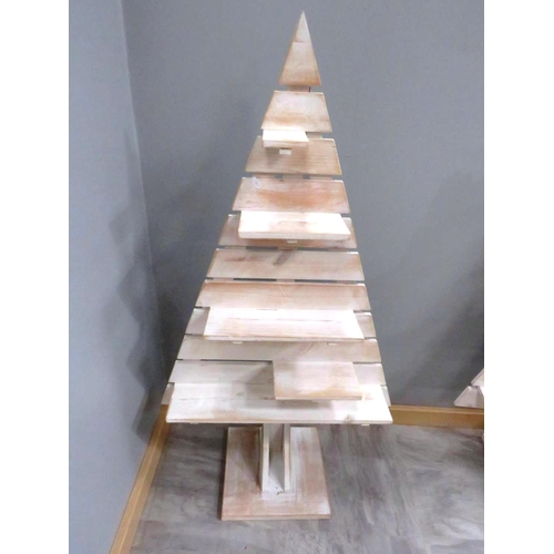 30 - WOODEN TREE SHELVES...