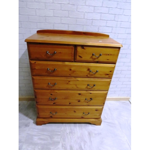 37 - TWO OVER FOUR DRAW PINE CHEST...