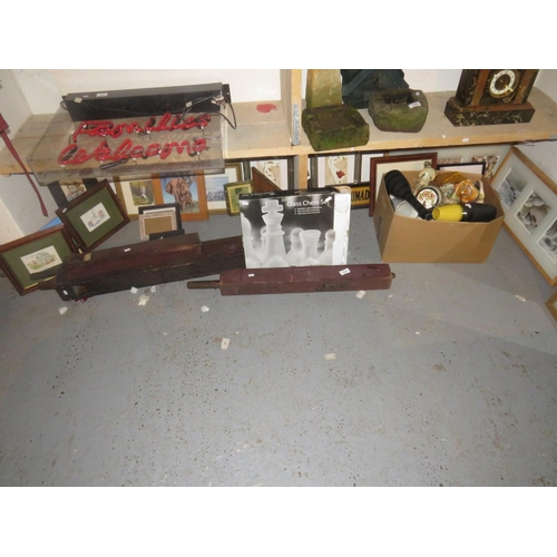 45 - SHELF LOT INCLUDING CHESS SET AND FRAMED PICTURES...