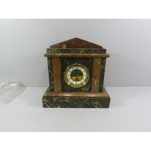 48 - MARBLE MANTLE CLOCK - AS FOUND...