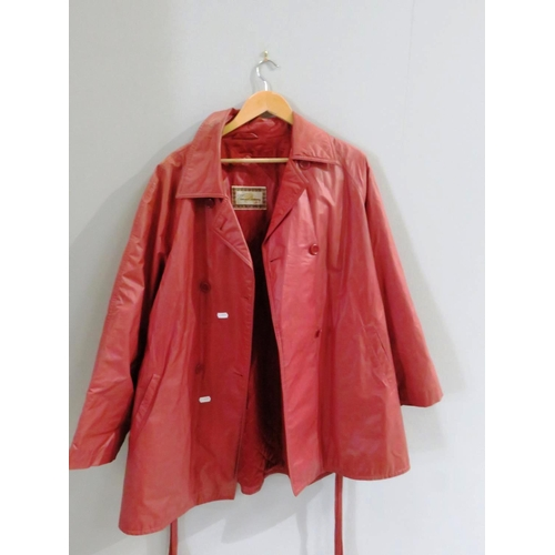 52 - BURBERRY RED TRENCH COAT...