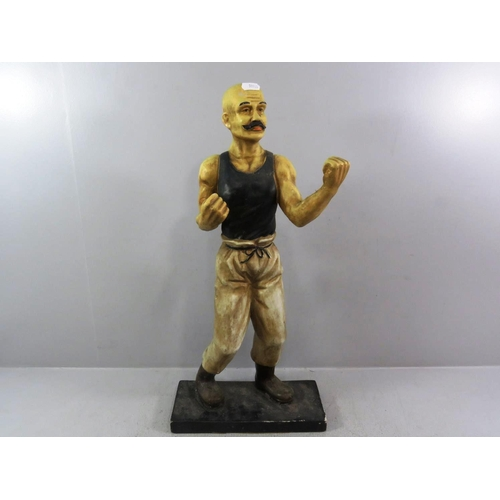 283 - ANTIQUE 1920'S CERAMIC FIGURE OF A BARE KNUCKLE BOXER HEIGHT 23