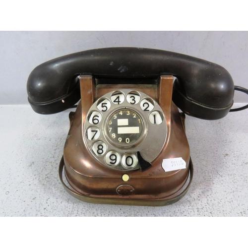 285 - VINTAGE COPPER BRASS AND BAKELITE TELEPHONE...