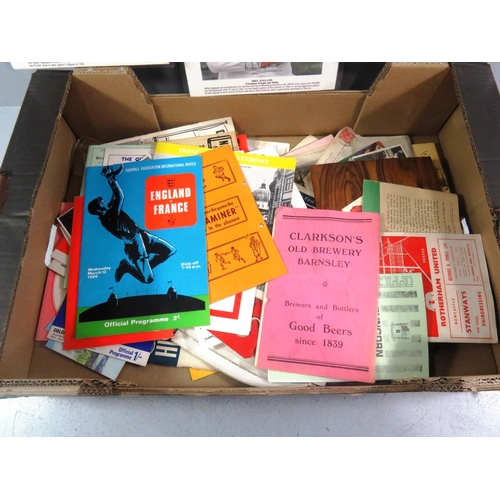 1 - BOX OF EPHEMERA INCLUDING POSTCARDS, PHOTOS AND OLD FOOTBALL ITEMS...