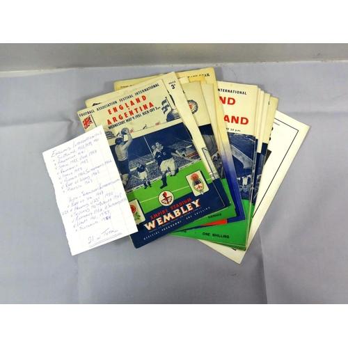 7 - TWENTY-ONE FOOTBALL PROGRAMMES ENGLAND AND ENGLAND SCHOOLBOYS INTERNATIONALS 1950S-1960'S...