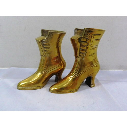 17 - TWO SOLID BRASS BOOTS...
