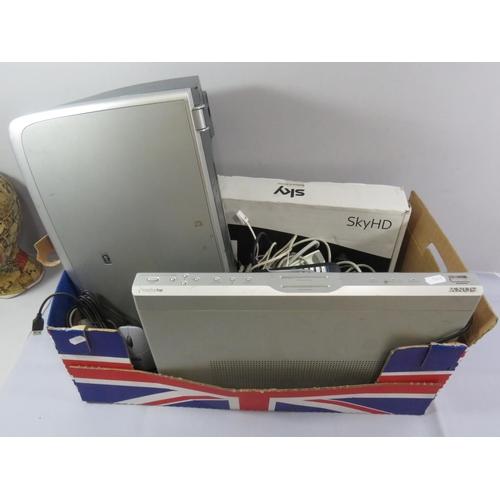 30 - BOX OF ELECTRICALS INCLUDING NEW SKY BOX, PRINTER ETC...
