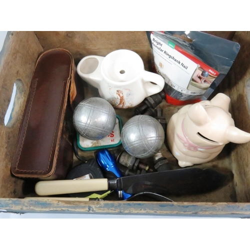 33 - BLUE WOODEN BOX AND CONTENTS...