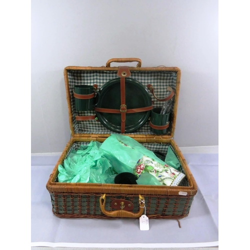 38 - PICNIC BASKET AND CONTENTS INCLUDING CARLTON WARE...